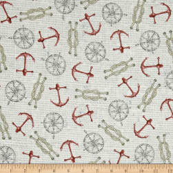 Seaside Anchors & Ropes Pale Beige Fabric
