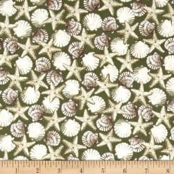 Seaside Shells Green Fabric