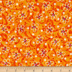 Pecking Order Stencil Flower Orange Fabric