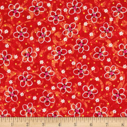 QT Fabrics Pecking Order Stencil Flower Red Fabric