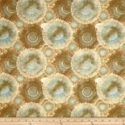 QT Fabrics Arabesque Floating Medallions Dark Tan Fabric