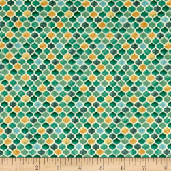 Arabesque Tonal Geometric Teal Fabric
