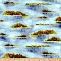 QT Fabrics Duck Lake Lake Vignettes Blue Fabric