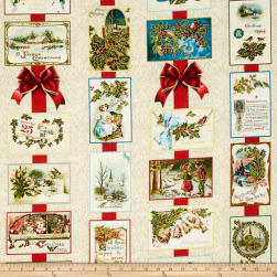 Penny Rose Joyous Christmas Sparkle Main Cream Fabric