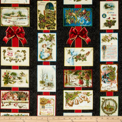 Penny Rose Joyous Christmas Sparkle Main Black Fabric
