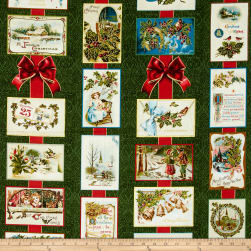 Penny Rose Joyous Christmas Sparkle Main Green Fabric