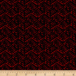 Jersey Knit Abstract Basket Weave Red Black Fabric