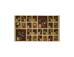 Birds of A Feather Alphabet 24 In. Panel Cream Brown