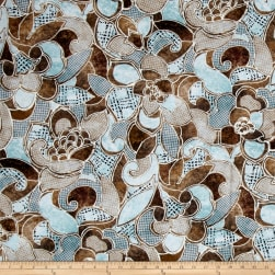 Contempo Twilight Bali Flowers Brown/Turquoise Fabric