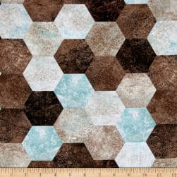 Contempo Twilight Hexagons Brown/Turquoise Fabric