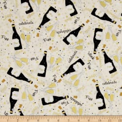 Kanvas Celebration Let's Toast Cream Metallic Fabric