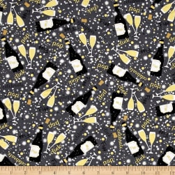 Kanvas Celebration Let's Toast Grey Metallic Fabric