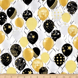 Kanvas Celebration Celebrate Balloons White Metallic Fabric