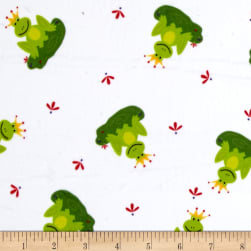Minky Frogs Prince White Green Fabric