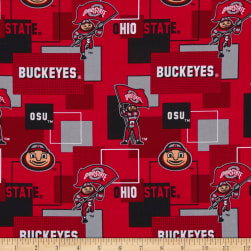 Colleigate Cotton Ohio State University Blocks Red/Black Fabric