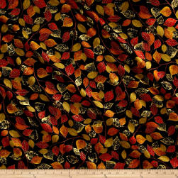 Kanvas Autumn Splendor Metallic Fall Foliage Black/Multi Fabric