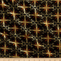 Kanvas Autumn Splendor Metallic Fall Filagree Black Fabric
