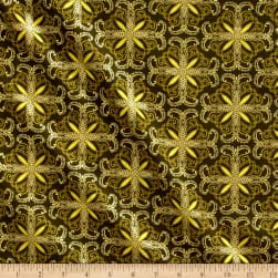 Kanvas Autumn Splendor Metallic Fall Filagree Olive Fabric