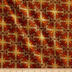 Kanvas Autumn Splendor Metallic Fall Filagree Brown Fabric