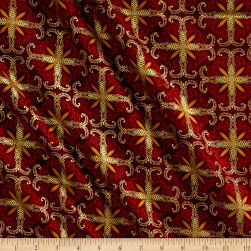 Kanvas Autumn Splendor Metallic Fall Filagree Burgundy Fabric