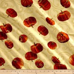 Kanvas Autumn Splendor Metallic Gilded Pumpkin Cream Fabric