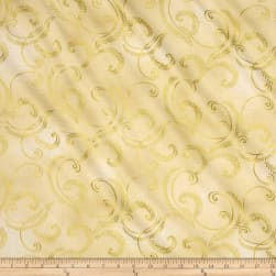 Kanvas Autumn Splendor Metallic Gold Garland Cream Fabric