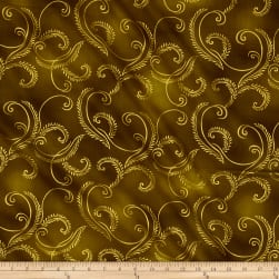 Kanvas Autumn Splendor Metallic Gold Garland Olive Fabric