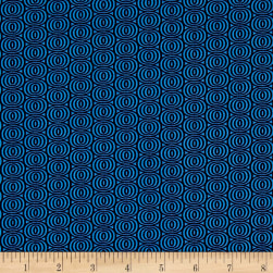 Kanvas Citron Twist Optic Circles Blue Fabric