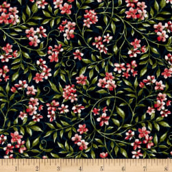 Bluebird Gathering Allover Flowers Navy/Pink Fabric
