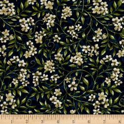 Bluebird Gathering Allover Flowers Navy/White Fabric