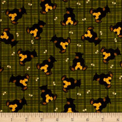 Bear Paws Bear with Honey Plaid Green