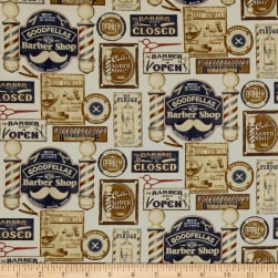 Barber Shop Shave and Haircut Parchment/Multi Fabric