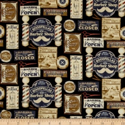 Barber Shop Shave and Haircut Black/Multi Fabric