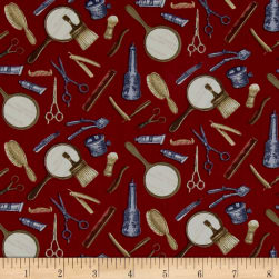 Barber Shop Tools of The Trade Red Fabric