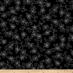 Kanvas Sew Sew Stiched Floral Black/White Fabric