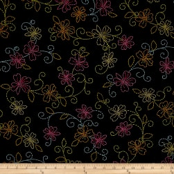 Kanvas Sew Sew Stiched Floral Black/Multi Fabric