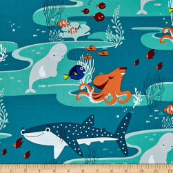 Disney Finding Dory Characters Dark Turquoise Fabric