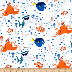 Disney Finding Dory Characters & Coral White Fabric