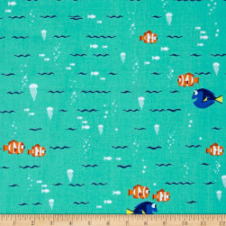 Disney Finding Dory Swimming Turquoise Fabric