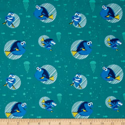 Disney Finding Dory Dory Faces Turquoise Fabric