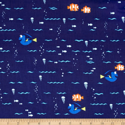Disney Finding Dory Swimming Navy Fabric