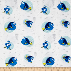 Disney Finding Dory Dory Faces White Fabric