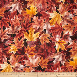 Frosted Fall Packed Maple Leaves Raw Sienna Fabric