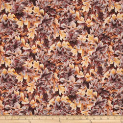 Frosted Fall Packed Oak Leaves Goldenrod Fabric
