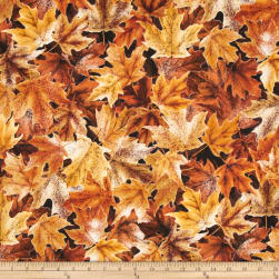 Frosted Fall Packed Maple Leaves Gold Ochre