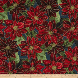Good Tidings Metallic Packed Poinsettia Teal/Gold Fabric