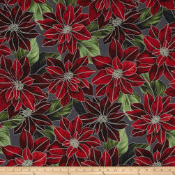 Good Tidings Metallic Packed Poinsetta Charcoal/Silver Fabric