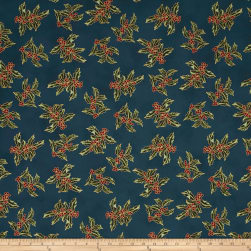 Good Tidings Holly Teal/Gold