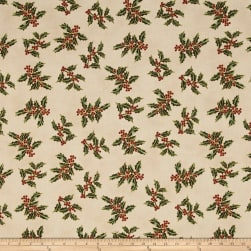 Good Tidings Holly Cream/Gold Metallic Fabric