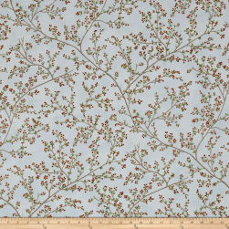 Good Tidings Berries Sky/Gold Metallic Fabric